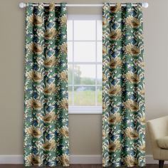 Decorama Cobalt Blue Floral Made To Measure Curtains