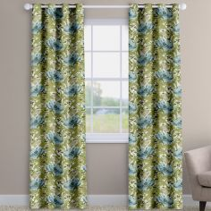 Decorama Cornflower Blue Floral Made To Measure Curtains