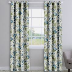 Hampton Dusk Blue Traditional Floral Made To Measure Curtains