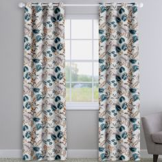 Fandango Henna Blue Tropical Floral Made To Measure Curtains