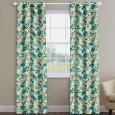 Fandango Marine Blue Tropical Floral Made To Measure Curtains