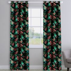 Fandango Zinc Black Tropical Floral Made To Measure Curtains