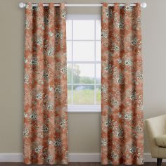 Rosamund Coral Orange Floral Made To Measure Curtains