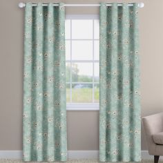 Rosamund  Eau-de-nil Blue Floral Made To Measure Curtains