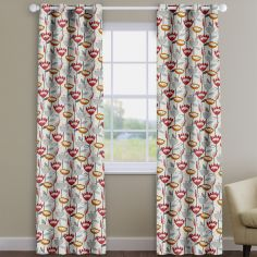 Flower Power Scarlet Red Modern Floral Made To Measure Curtains