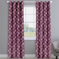 Kato Amethyst Purple Modern Leaves Made To Measure Curtains