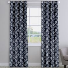 Kato Slate Grey Modern Leaves Made To Measure Curtains