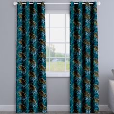 Manila Marine Blue Leaves Made To Measure Curtains