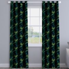 Manila Zinc Black Leaves Made To Measure Curtains