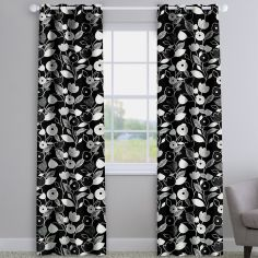 Nordic Flowers Noir Black Made To Measure Curtains