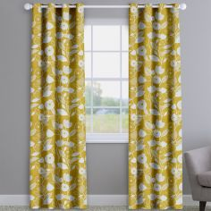 Nordic Flowers Ochre Yellow Made To Measure Curtains