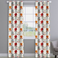 Pomegranate Scarlet Red Modern Floral Made To Measure Curtains