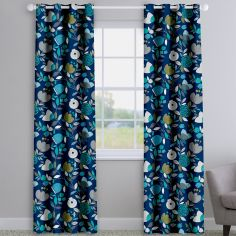 Pomegranate Trail Capri Blue Modern Floral Made To Measure Curtains
