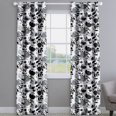 Pomegranate Trail Noir Black Modern Floral Made To Measure Curtains