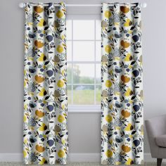 Pomegranate Trail Ochre Yellow Modern Floral Made To Measure Curtains