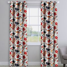 Pomegranate Trail Scarlet Red Modern Floral Made To Measure Curtains