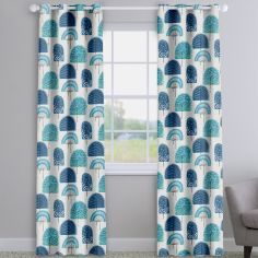 Scandi Wood Indigo Blue Modern Made To Measure Curtains