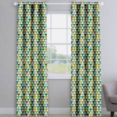 Pyramids Kiwi Green Modern Geometric Made To Measure Curtains