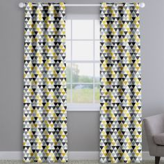 Pyramids Noir Black Modern Geometric Made To Measure Curtains