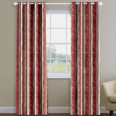 Zari Stripe Cayenne Red Made To Measure Curtains