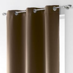 Occult Plain Blackout Eyelet Single Curtain Panel - Hazelnut Brown