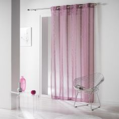 Louanne Chenille Yarn Eyelet Voile Curtain Panel - Purple