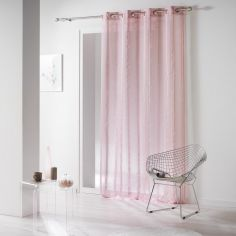 Louanne Chenille Yarn Eyelet Voile Curtain Panel - Pink