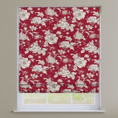 Aquataine Rouge Red Vintage Floral Roman Blind