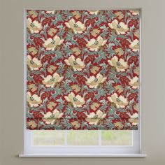 Decorama Cherry Red Floral Roman Blind