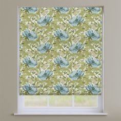 Decorama Cornflower Blue & Green Floral Roman Blind