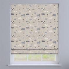 Baa Baa Sheep Charcoal Grey Roman Blind