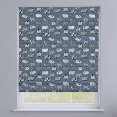 Baa Baa Sheep Denim Blue Roman Blind