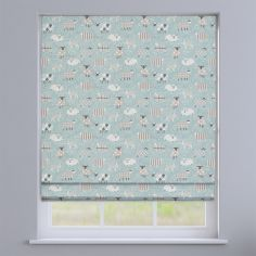 Baa Baa Sheep Duck Egg Blue Roman Blind
