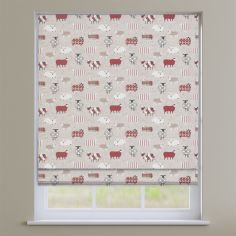 Baa Baa Sheep Peony Red Roman Blind