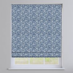 Bird Garden Denim Blue Delicate Floral Roman Blind