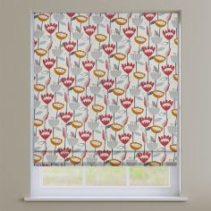 Flower Power Scarlet Red Modern Floral Roman Blind