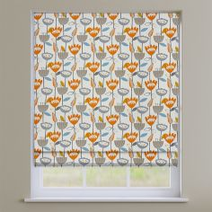 Flower Power Tangerine Orange Modern Floral  Roman Blind