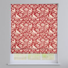 Moorland Floral Animals Copper Red Roman Blind