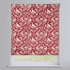 Moorland Floral Animals Rouge Red Roman Blind