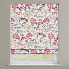 Hedgerow Floral Ruby Red Roman Blind