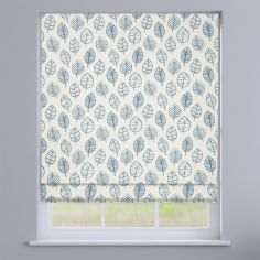 Kato Ocean Blue Modern Leaves Roman Blind