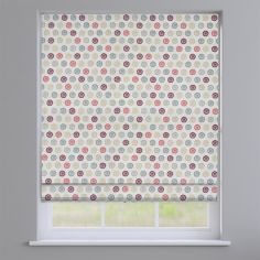 Laurel Ruby Red Modern Geometric Roman Blind