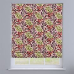 Manila Leaves Cranberry Red Roman Blind