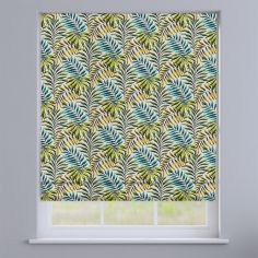 Manila Leaves Lagoon Green Roman Blind