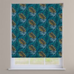 Manila Leaves Marine Blue Roman Blind