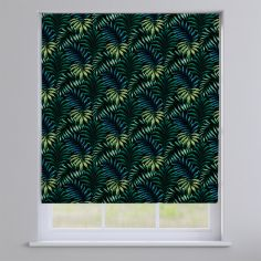 Manila Leaves Zinc Black Roman Blind