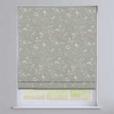 Etched Feather Grey Delicate Floral Roman Blind