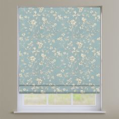 Etched Wedgewood Blue Delicate Floral Roman Blind