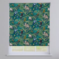 Rainforest Lagoon Green Exotic Animals Roman Blind