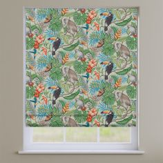 Rainforest Papaya Green Exotic Animals Roman Blind